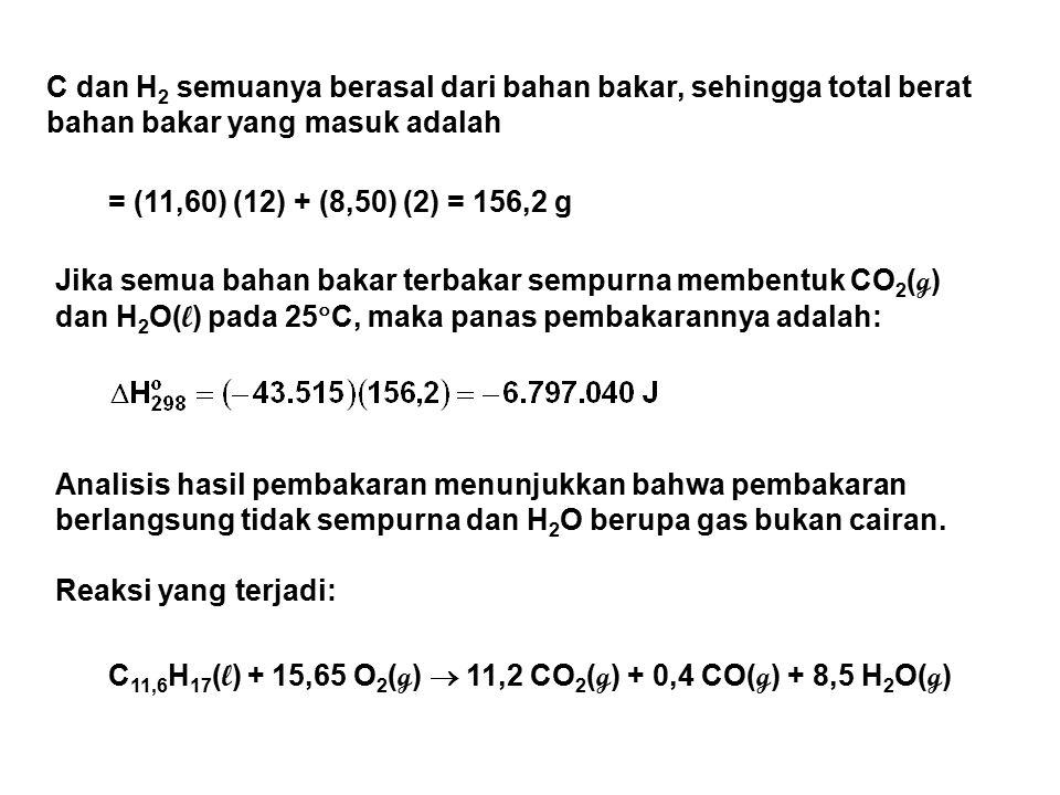 C dan H 2 semuanya berasal dari bahan bakar, sehingga total berat bahan bakar yang masuk adalah = (11,60) (12) + (8,50) (2) = 156,2 g Jika semua bahan