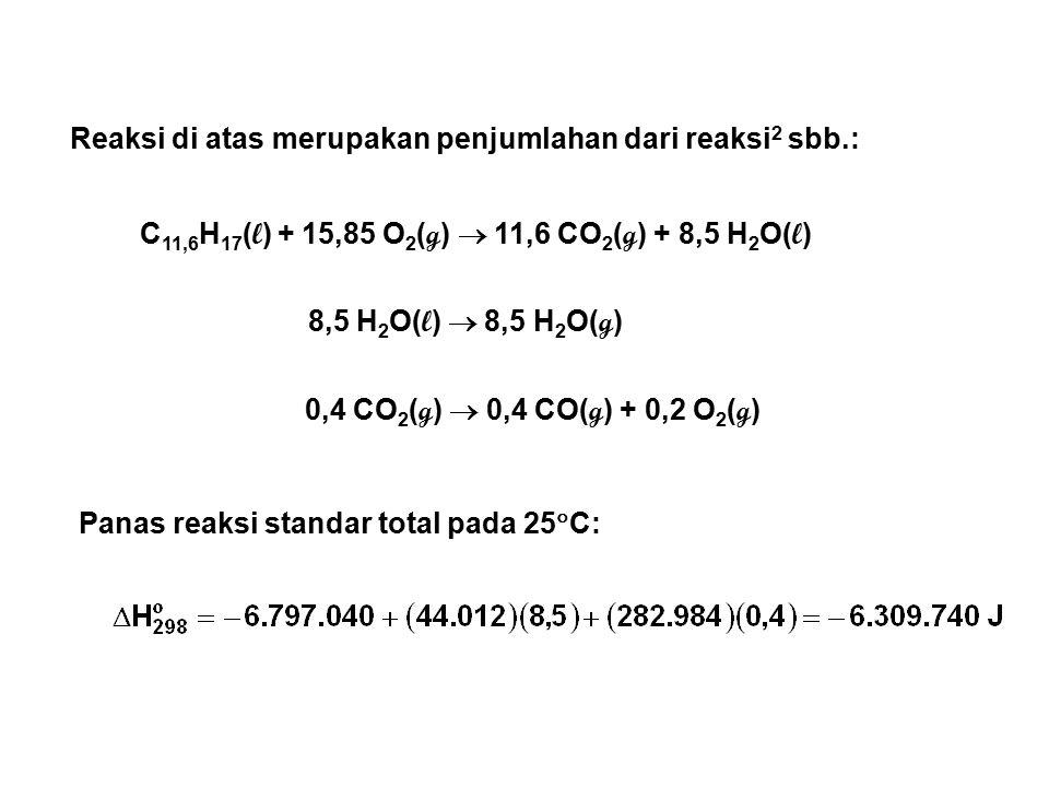Reaksi di atas merupakan penjumlahan dari reaksi 2 sbb.: C 11,6 H 17 ( l ) + 15,85 O 2 ( g )  11,6 CO 2 ( g ) + 8,5 H 2 O( l ) 8,5 H 2 O( l )  8,5 H