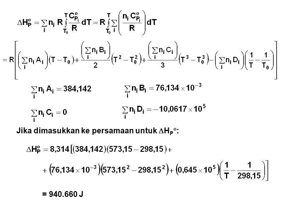 Jika dimasukkan ke persamaan untuk  H P  : = 940.660 J