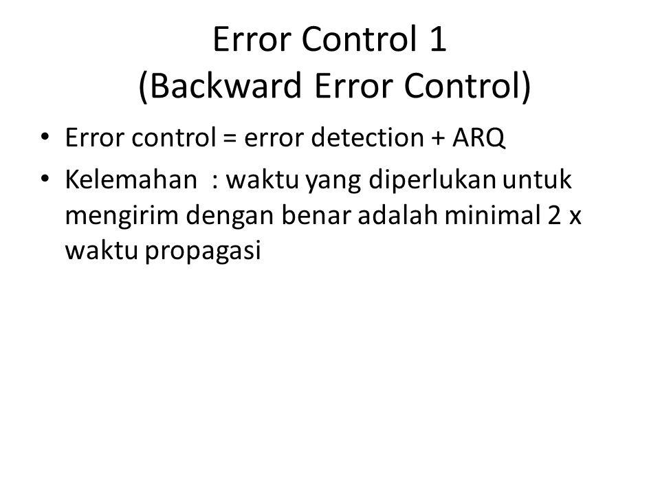 Error Control 1 (Backward Error Control) Error control = error detection + ARQ Kelemahan : waktu yang diperlukan untuk mengirim dengan benar adalah mi