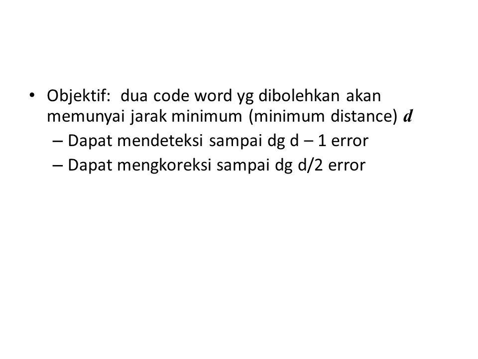 Objektif: dua code word yg dibolehkan akan memunyai jarak minimum (minimum distance) d – Dapat mendeteksi sampai dg d – 1 error – Dapat mengkoreksi sa