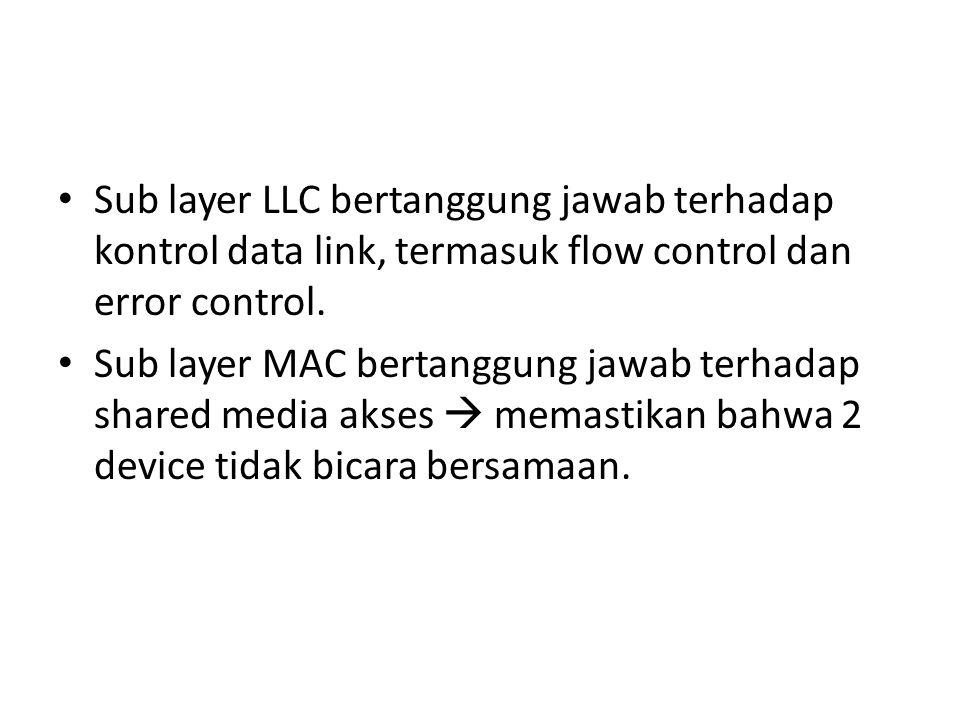 Sub layer LLC bertanggung jawab terhadap kontrol data link, termasuk flow control dan error control. Sub layer MAC bertanggung jawab terhadap shared m