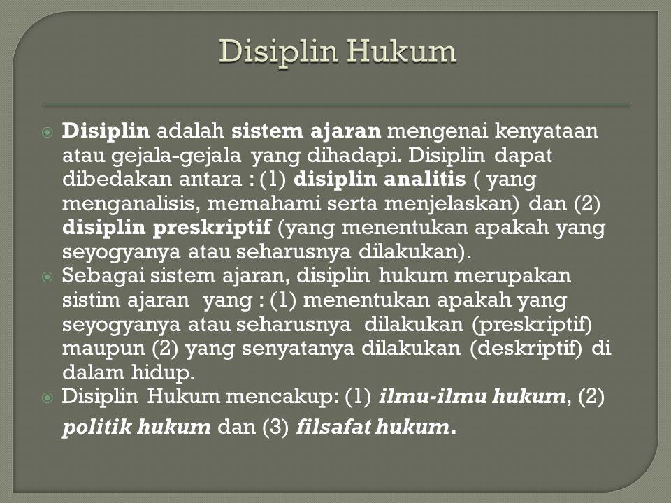  Disiplin adalah sistem ajaran mengenai kenyataan atau gejala-gejala yang dihadapi. Disiplin dapat dibedakan antara : (1) disiplin analitis ( yang me