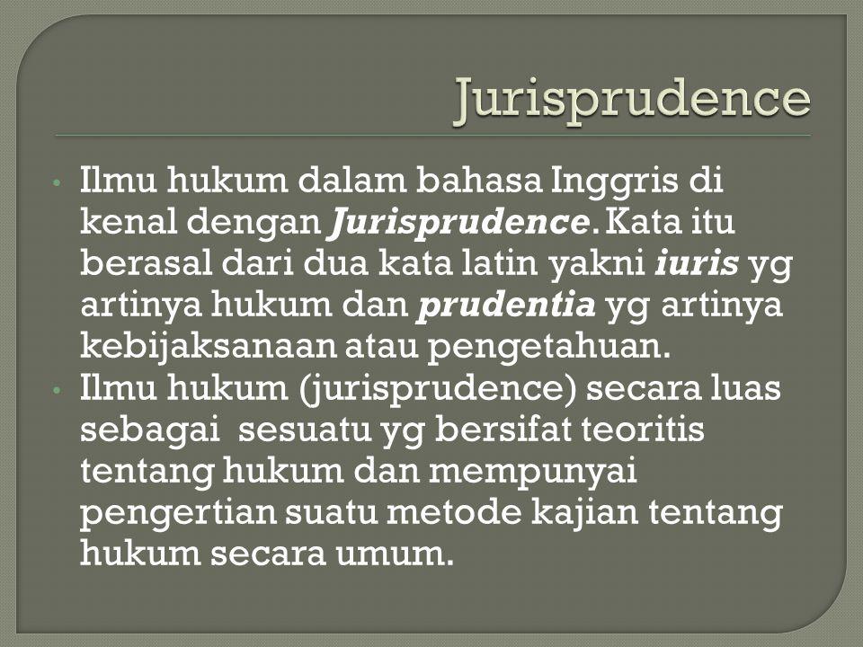 Ilmu hukum dalam bahasa Inggris di kenal dengan Jurisprudence. Kata itu berasal dari dua kata latin yakni iuris yg artinya hukum dan prudentia yg arti