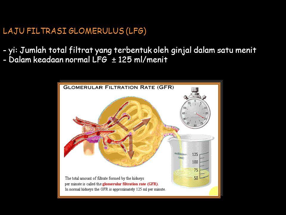 LAJU FILTRASI GLOMERULUS (LFG) - yi: Jumlah total filtrat yang terbentuk oleh ginjal dalam satu menit - Dalam keadaan normal LFG ± 125 ml/menit