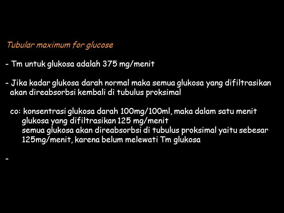 Tubular maximum for glucose - Tm untuk glukosa adalah 375 mg/menit - Jika kadar glukosa darah normal maka semua glukosa yang difiltrasikan akan direabsorbsi kembali di tubulus proksimal co: konsentrasi glukosa darah 100mg/100ml, maka dalam satu menit glukosa yang difiltrasikan 125 mg/menit semua glukosa akan direabsorbsi di tubulus proksimal yaitu sebesar 125mg/menit, karena belum melewati Tm glukosa -