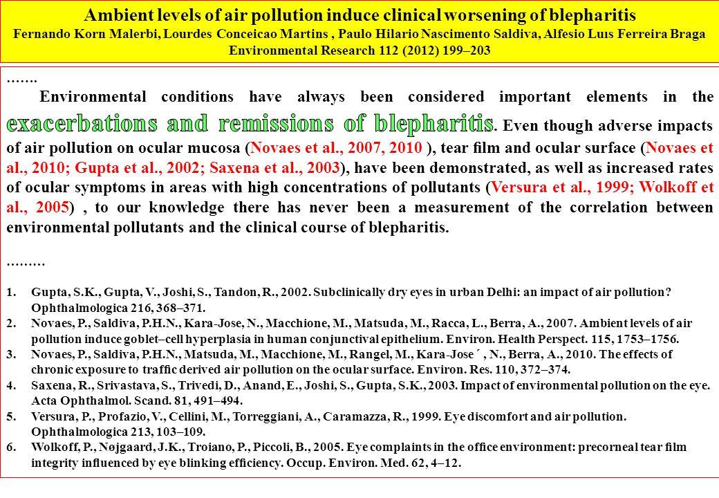Ambient levels of air pollution induce clinical worsening of blepharitis Fernando Korn Malerbi, Lourdes Conceicao Martins, Paulo Hilario Nascimento Saldiva, Alfesio Luıs Ferreira Braga Environmental Research 112 (2012) 199–203
