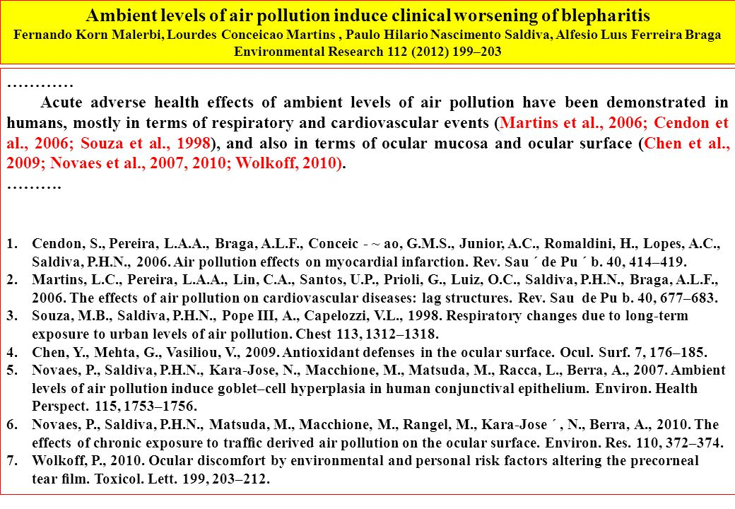 ………… Acute adverse health effects of ambient levels of air pollution have been demonstrated in humans, mostly in terms of respiratory and cardiovascular events (Martins et al., 2006; Cendon et al., 2006; Souza et al., 1998), and also in terms of ocular mucosa and ocular surface (Chen et al., 2009; Novaes et al., 2007, 2010; Wolkoff, 2010).