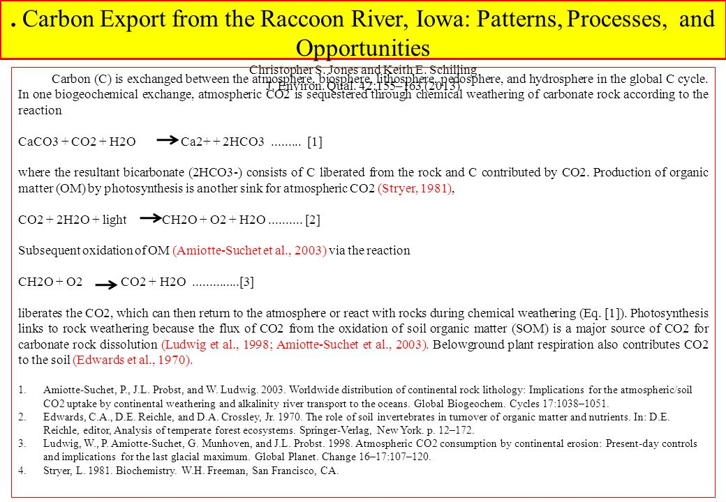 . Carbon Export from the Raccoon River, Iowa: Patterns, Processes, and Opportunities Christopher S. Jones and Keith E. Schilling J. Environ. Qual. 42: