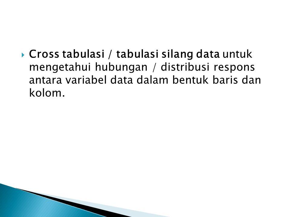  Cross tabulasi / tabulasi silang data untuk mengetahui hubungan / distribusi respons antara variabel data dalam bentuk baris dan kolom.