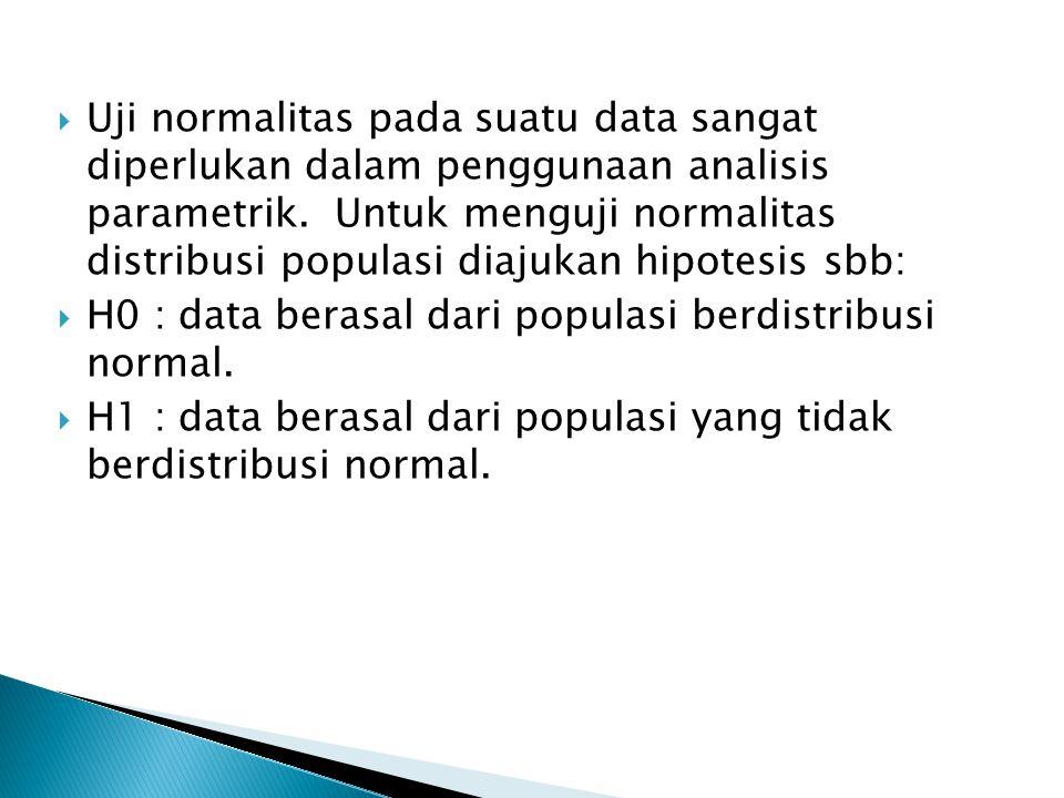  Uji normalitas pada suatu data sangat diperlukan dalam penggunaan analisis parametrik. Untuk menguji normalitas distribusi populasi diajukan hipotes