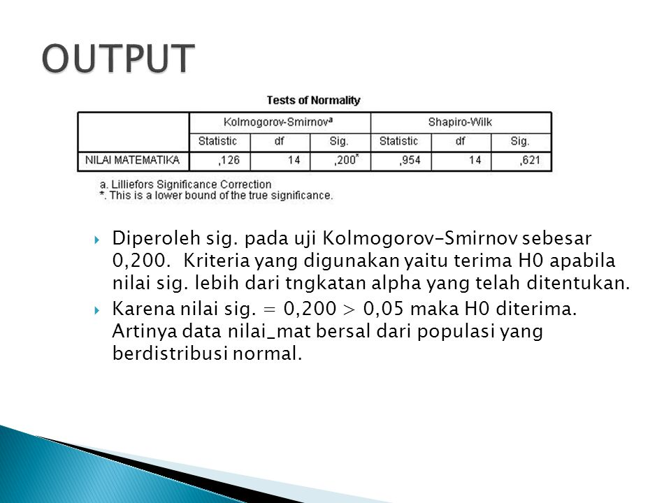  Diperoleh sig. pada uji Kolmogorov-Smirnov sebesar 0,200. Kriteria yang digunakan yaitu terima H0 apabila nilai sig. lebih dari tngkatan alpha yang