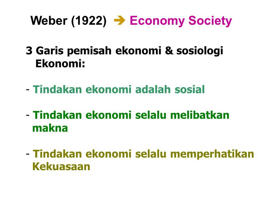 Weber (1922)  Economy Society 3 Garis pemisah ekonomi & sosiologi Ekonomi: - Tindakan ekonomi adalah sosial - Tindakan ekonomi selalu melibatkan makn
