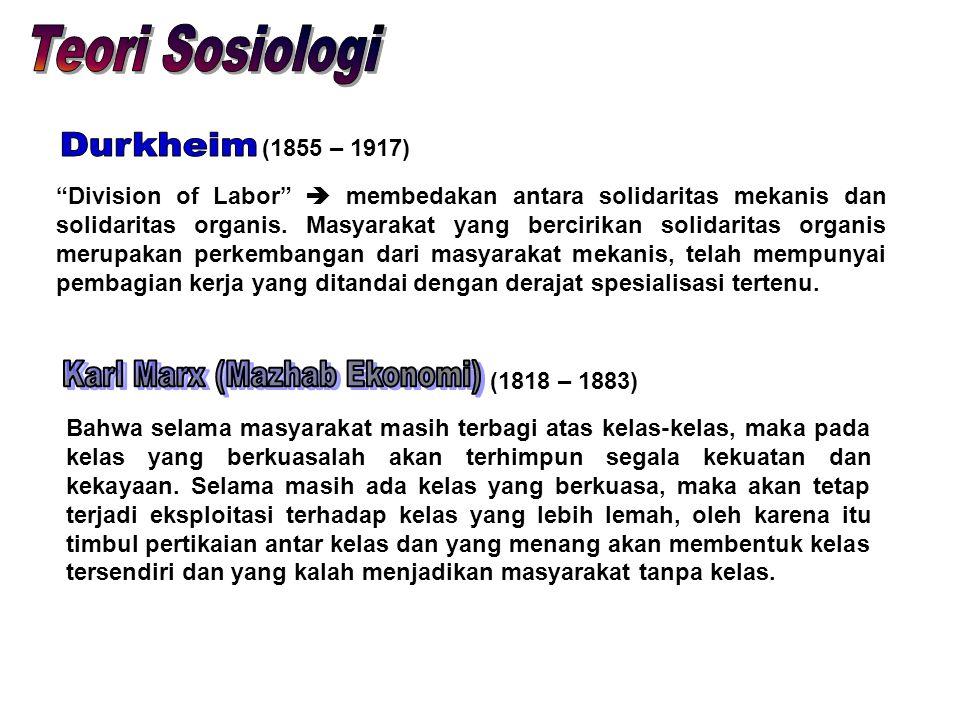 """(1855 – 1917) """"Division of Labor""""  membedakan antara solidaritas mekanis dan solidaritas organis. Masyarakat yang bercirikan solidaritas organis meru"""
