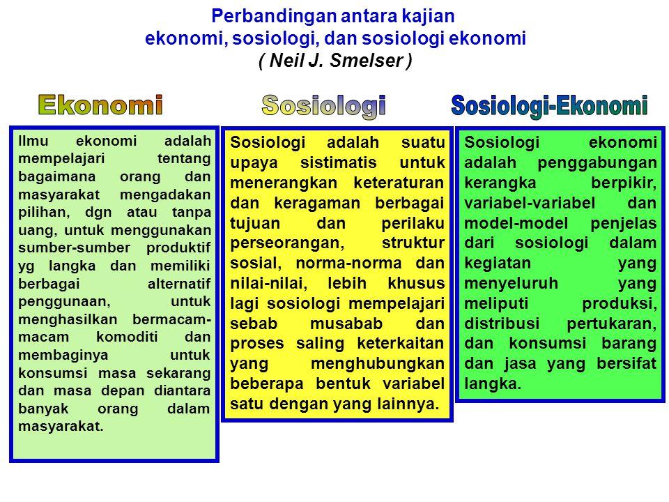 Economics and sociology; Redefining their boundaries: Conversations with economicts and sociology Menyimpulkan 3 pembagian kerja Antara ekonomi & sosiologi Persoalan Ekonomi dan Sosiologi - Para ekonom memperluas bidang kajiannya pada topik yang secara tradisi digeluti oleh para sosiolog.