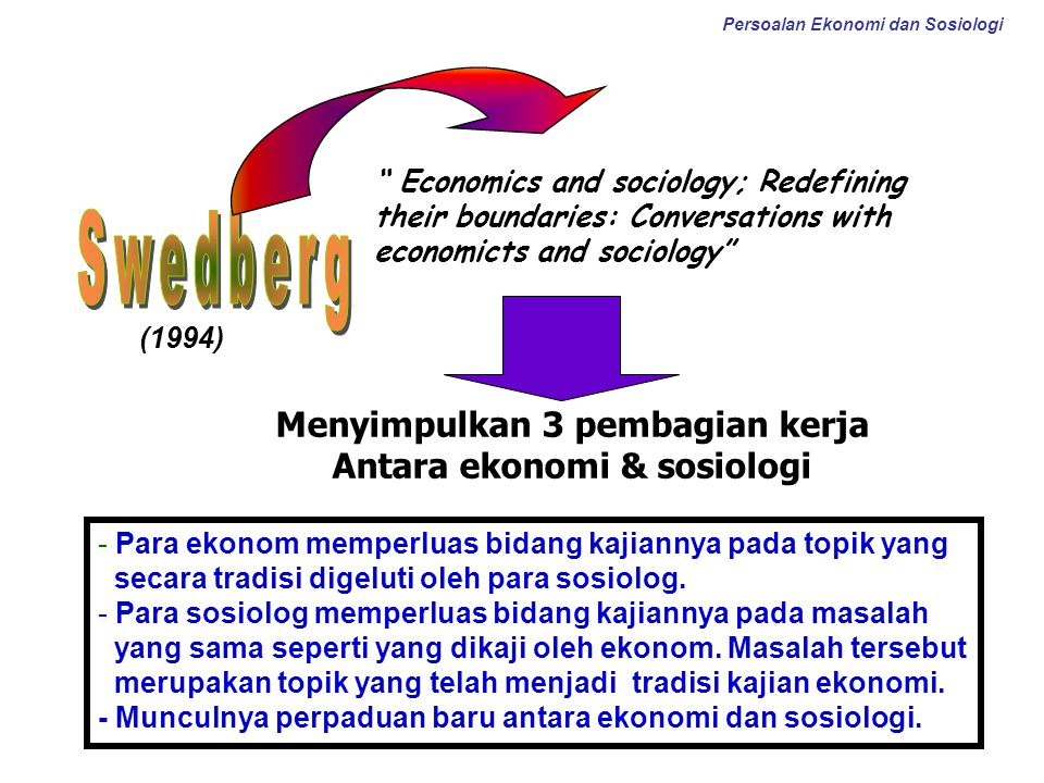 """ Economics and sociology; Redefining their boundaries: Conversations with economicts and sociology"" Menyimpulkan 3 pembagian kerja Antara ekonomi & s"