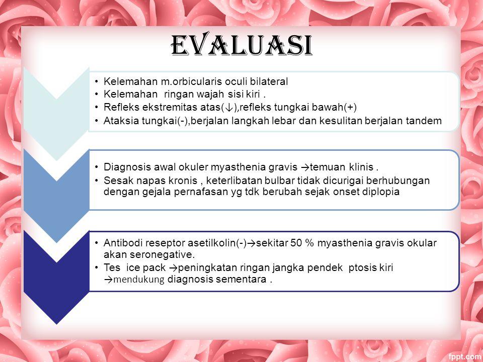 Cont..evaluasi Penyakit mata tiroid → proptosis ringan, tp MRI tidak menunjukkan pembesaran otot ekstraokular,lesi sistem saraf pusat (-) → dimulai pyridostigmine oral 30mg t.i.d.