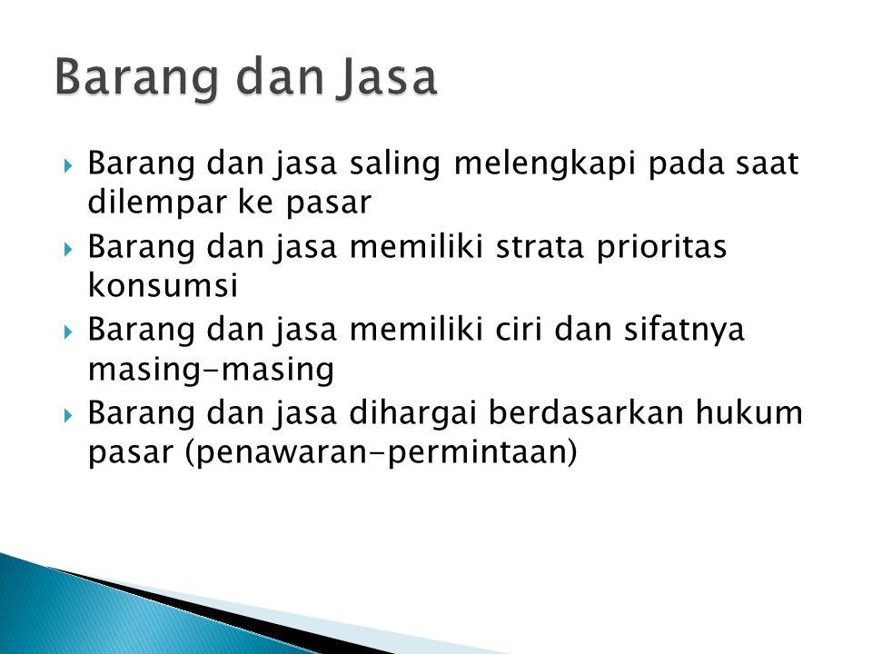  Barang dan jasa saling melengkapi pada saat dilempar ke pasar  Barang dan jasa memiliki strata prioritas konsumsi  Barang dan jasa memiliki ciri dan sifatnya masing-masing  Barang dan jasa dihargai berdasarkan hukum pasar (penawaran-permintaan)