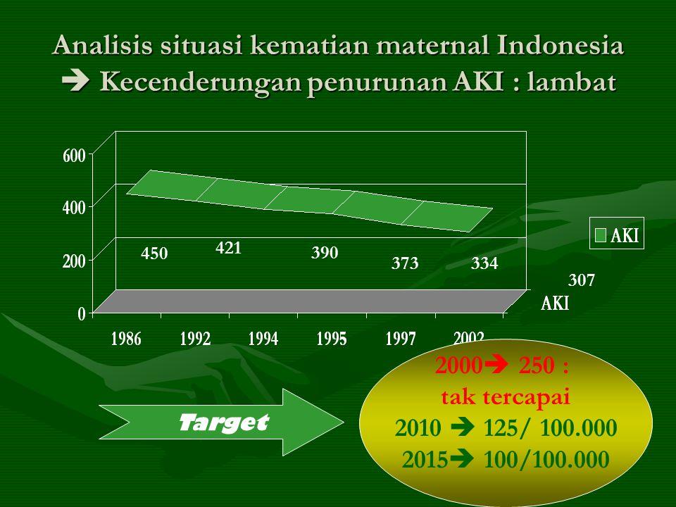Analisis situasi kematian maternal Indonesia  Kecenderungan penurunan AKI : lambat 450 421 390 373334 307 Target 2000  250 : tak tercapai 2010  125