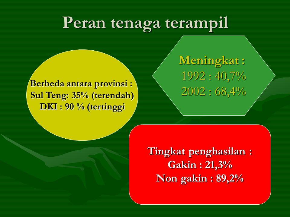 Peran tenaga terampil Meningkat : 1992 : 40,7% 2002 : 68,4% Tingkat penghasilan : Gakin : 21,3% Non gakin : 89,2% Berbeda antara provinsi : Sul Teng: