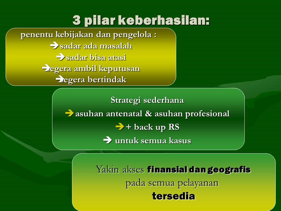 3 pilar keberhasilan: penentu kebijakan dan pengelola :  sadar ada masalah  sadar bisa atasi  segera ambil keputusan  segera bertindak Strategi se