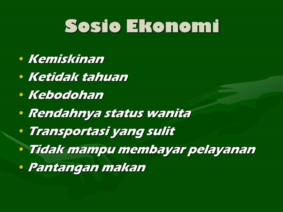 Sosio Ekonomi KemiskinanKemiskinan Ketidak tahuanKetidak tahuan KebodohanKebodohan Rendahnya status wanitaRendahnya status wanita Transportasi yang su