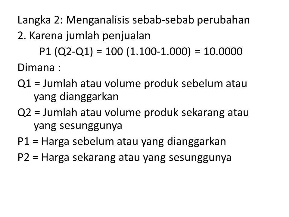 Langka 2: Menganalisis sebab-sebab perubahan 2. Karena jumlah penjualan P1 (Q2-Q1) = 100 (1.100-1.000) = 10.0000 Dimana : Q1 = Jumlah atau volume prod