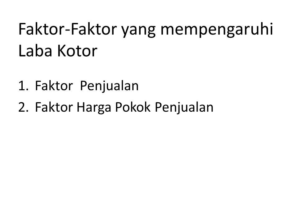 Faktor-Faktor yang mempengaruhi Laba Kotor 1.Faktor Penjualan 2.Faktor Harga Pokok Penjualan
