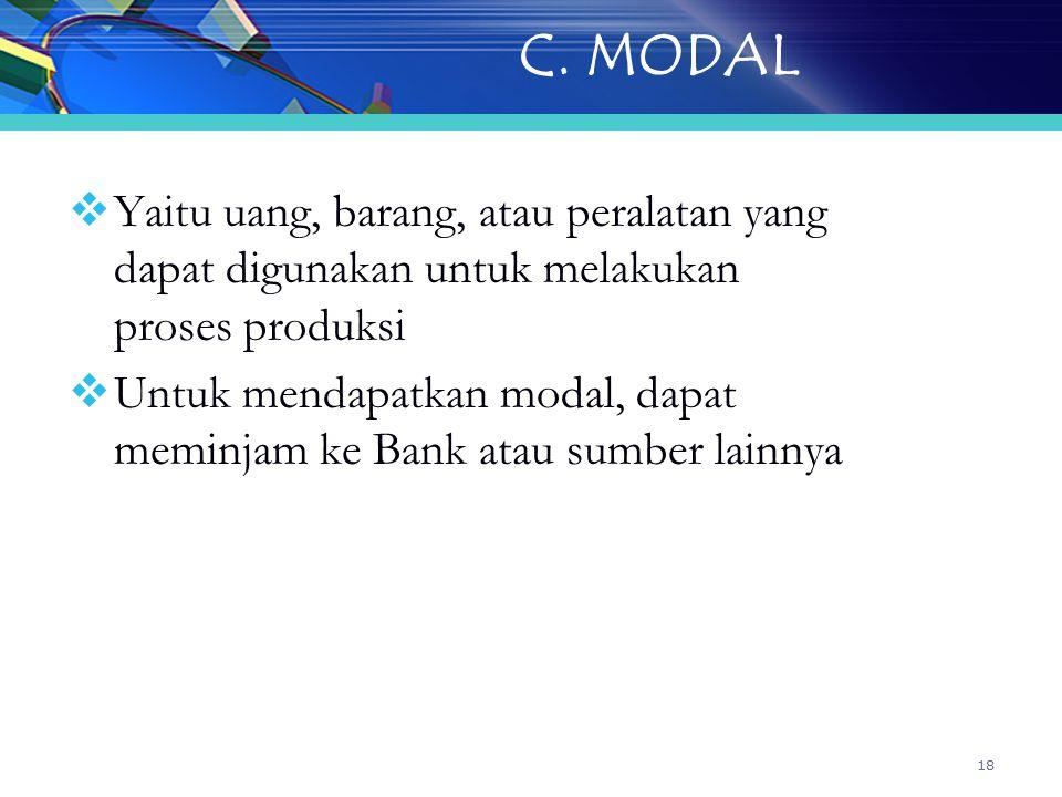 18 C. MODAL  Yaitu uang, barang, atau peralatan yang dapat digunakan untuk melakukan proses produksi  Untuk mendapatkan modal, dapat meminjam ke Ban