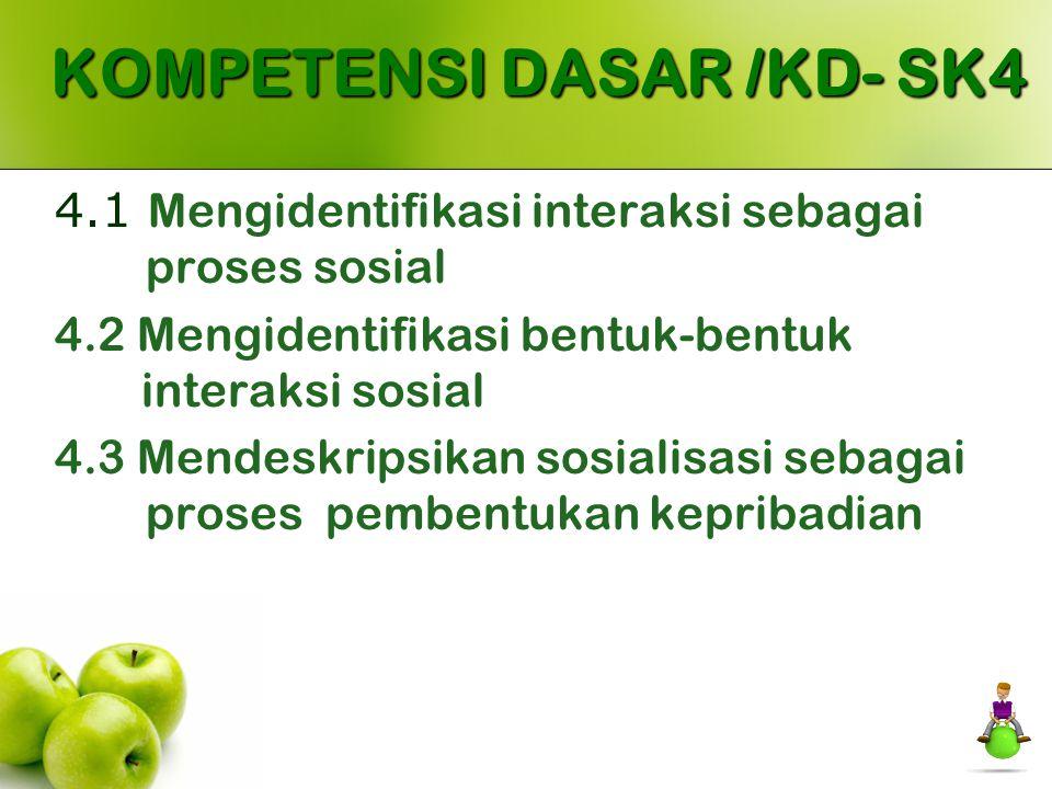 KOMPETENSI DASAR /KD- SK4 4.1 Mengidentifikasi interaksi sebagai proses sosial 4.2 Mengidentifikasi bentuk-bentuk interaksi sosial 4.3 Mendeskripsikan