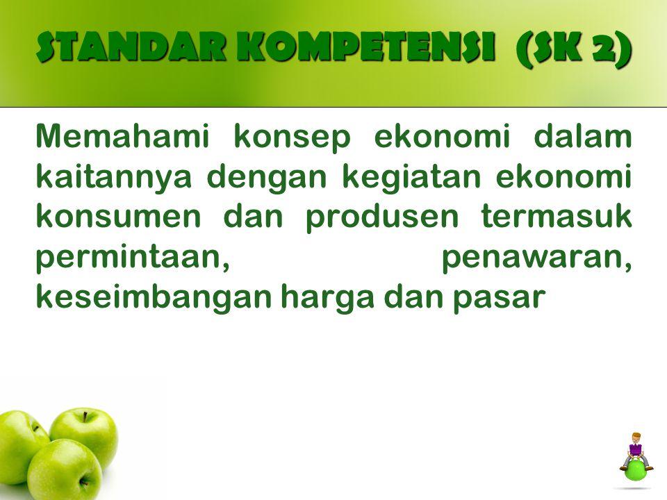 STANDAR KOMPETENSI (SK 2) Memahami konsep ekonomi dalam kaitannya dengan kegiatan ekonomi konsumen dan produsen termasuk permintaan, penawaran, keseim