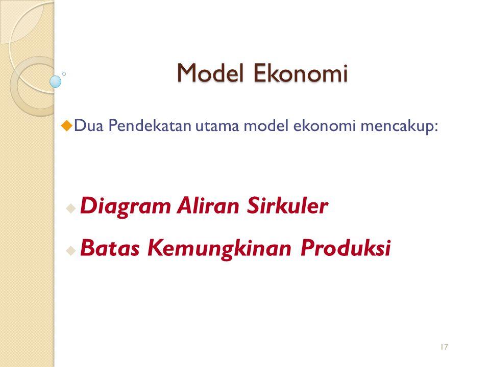 Model Ekonomi u Dua Pendekatan utama model ekonomi mencakup: u Diagram Aliran Sirkuler u Batas Kemungkinan Produksi 17