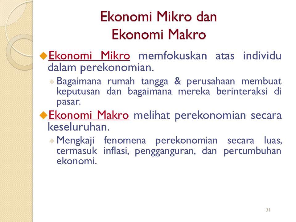 Ekonomi Mikro dan Ekonomi Makro u Ekonomi Mikro memfokuskan atas individu dalam perekonomian. u Bagaimana rumah tangga & perusahaan membuat keputusan