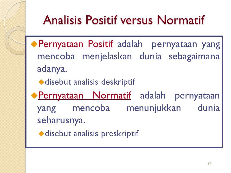 Analisis Positif versus Normatif  Pernyataan Positif adalah pernyataan yang mencoba menjelaskan dunia sebagaimana adanya. u disebut analisis deskript