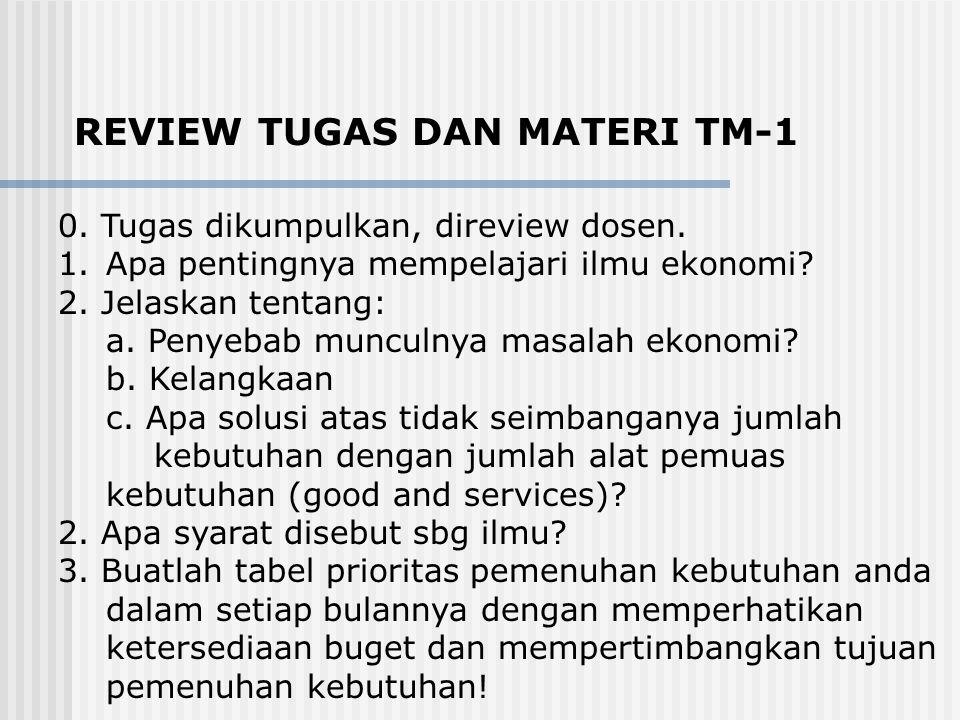REVIEW TUGAS DAN MATERI TM-1 0.Tugas dikumpulkan, direview dosen.