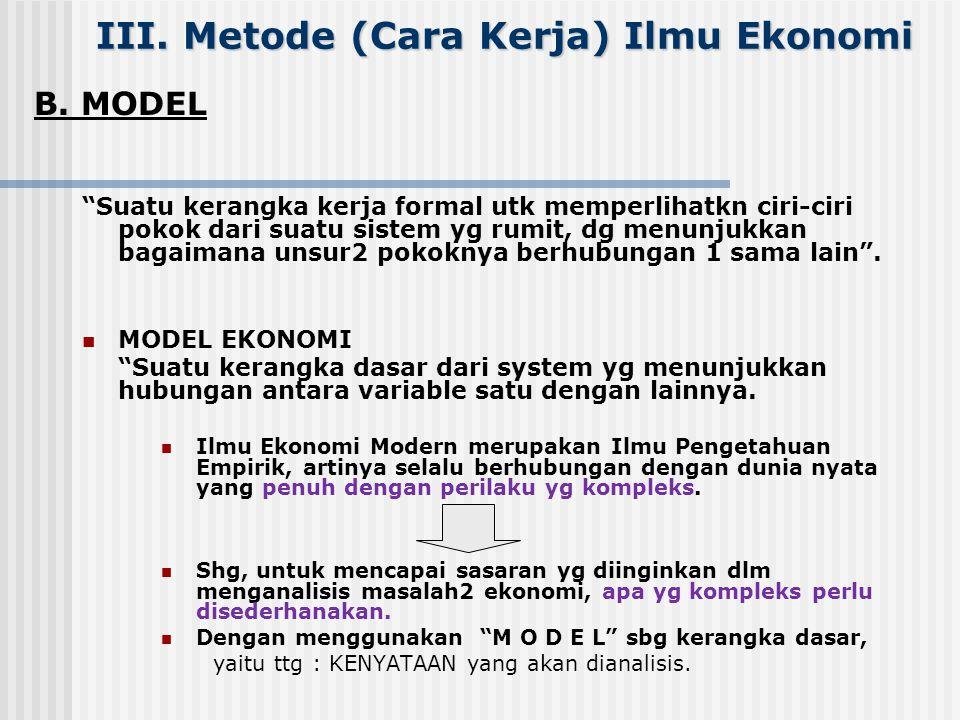 III. Metode (Cara Kerja) Ilmu Ekonomi A.METODE INDUKTIF dan DEDUKTIF DUA alat analisis Ilmu Ekonomi: 1. Metode induksi dan deduksi It's mostly used in