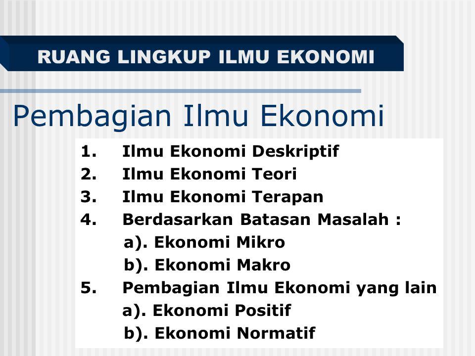 Pembagian Ilmu Ekonomi 1.Ilmu Ekonomi Deskriptif 2.Ilmu Ekonomi Teori 3.Ilmu Ekonomi Terapan 4.Berdasarkan Batasan Masalah : a).