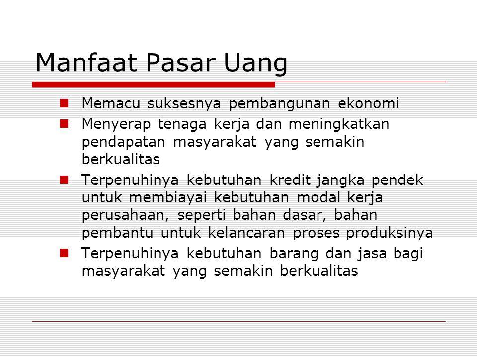 Macam-macam transaksi yang terdapat di Pasar Uang CCall Money SSertifikat Bank Indonesia (SBI) SSurat Berharga PasarUang (SBPU) SSertifikat Deposito BBanker's Acceptance