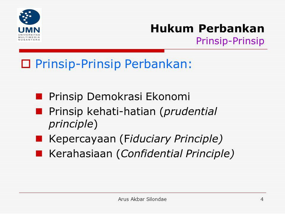 Arus Akbar Silondae4 Hukum Perbankan Prinsip-Prinsip  Prinsip-Prinsip Perbankan: Prinsip Demokrasi Ekonomi Prinsip kehati-hatian (prudential principl