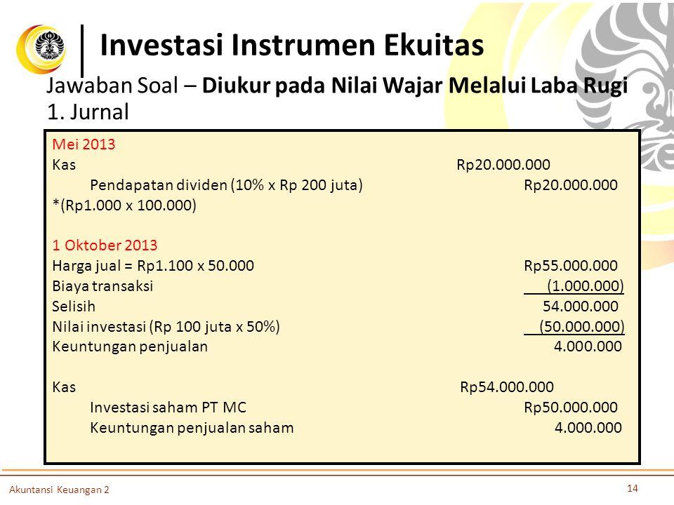 Investasi Instrumen Ekuitas 14 Akuntansi Keuangan 2 Jawaban Soal – Diukur pada Nilai Wajar Melalui Laba Rugi 1. Jurnal Mei 2013 KasRp20.000.000 Pendap