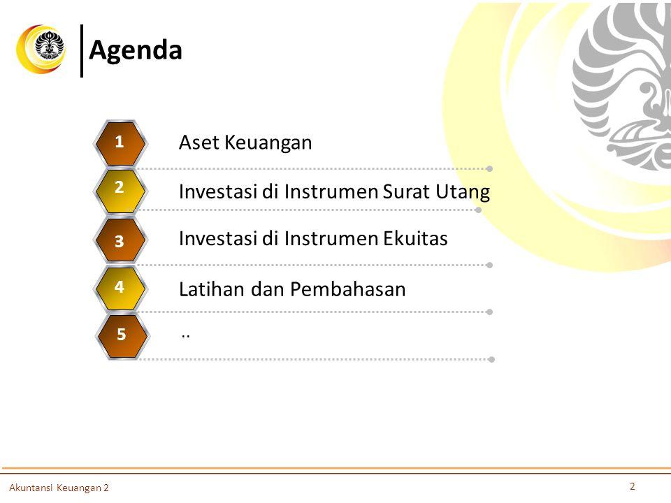 Agenda Aset Keuangan 1 Investasi di Instrumen Surat Utang 2 3 4 5 2 Akuntansi Keuangan 2 Investasi di Instrumen Ekuitas 3 Latihan dan Pembahasan 4.. 5