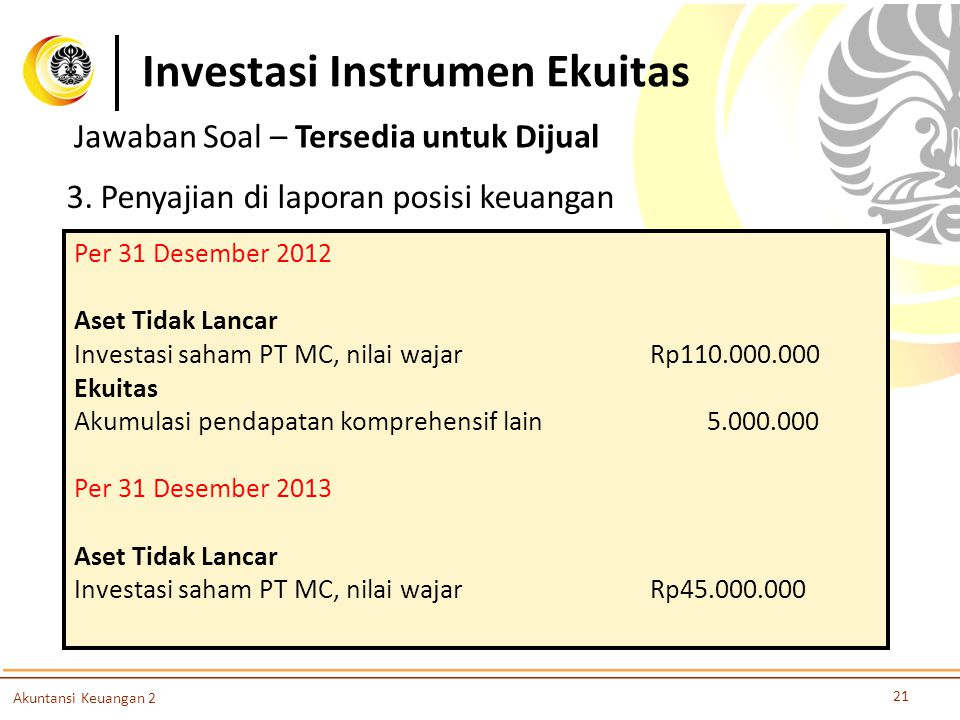 Investasi Instrumen Ekuitas 21 Akuntansi Keuangan 2 3. Penyajian di laporan posisi keuangan Per 31 Desember 2012 Aset Tidak Lancar Investasi saham PT