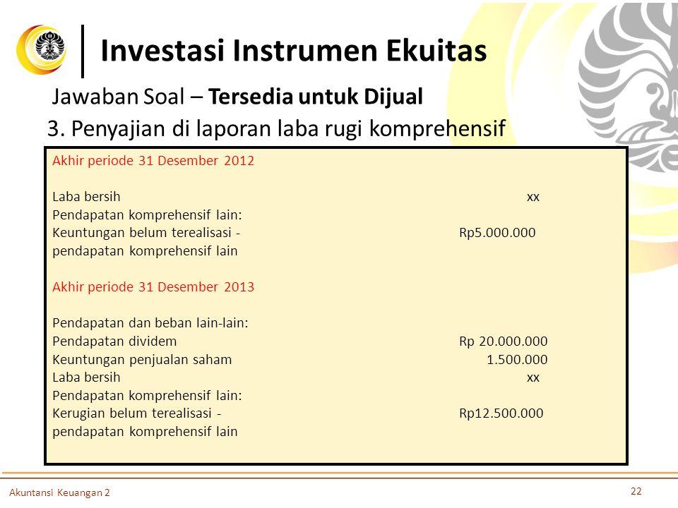 Investasi Instrumen Ekuitas 22 Akuntansi Keuangan 2 3. Penyajian di laporan laba rugi komprehensif Akhir periode 31 Desember 2012 Laba bersihxx Pendap