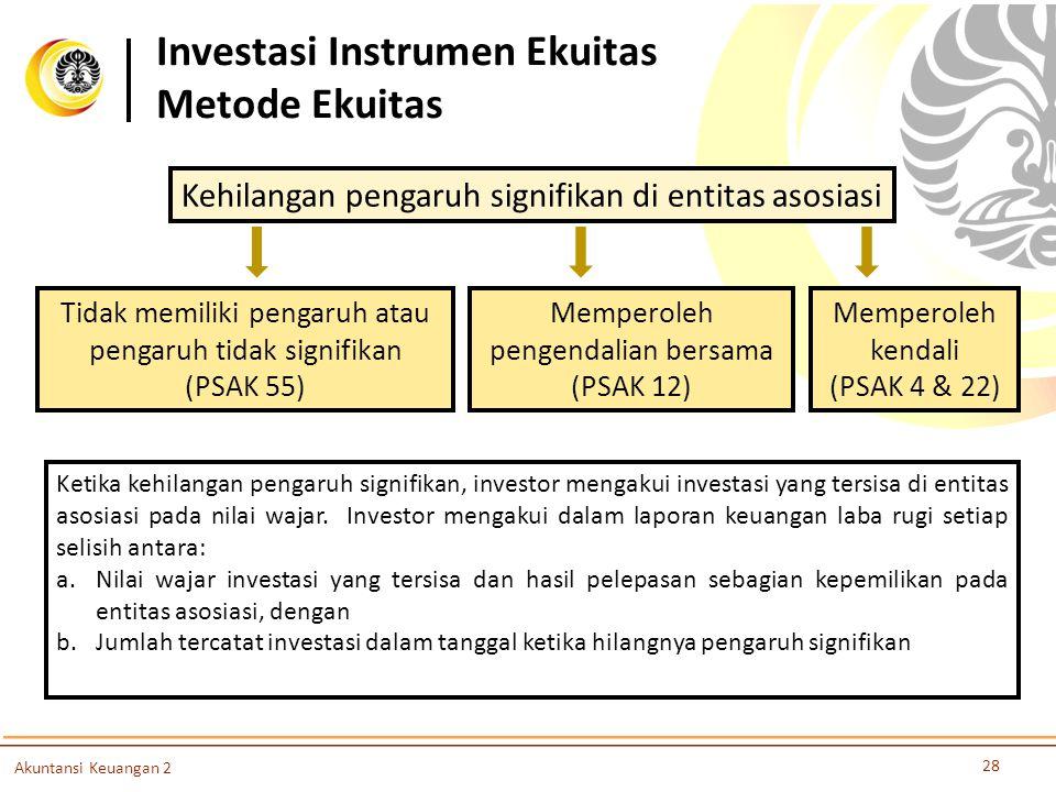 28 Akuntansi Keuangan 2 Kehilangan pengaruh signifikan di entitas asosiasi Memperoleh pengendalian bersama (PSAK 12) Memperoleh kendali (PSAK 4 & 22)