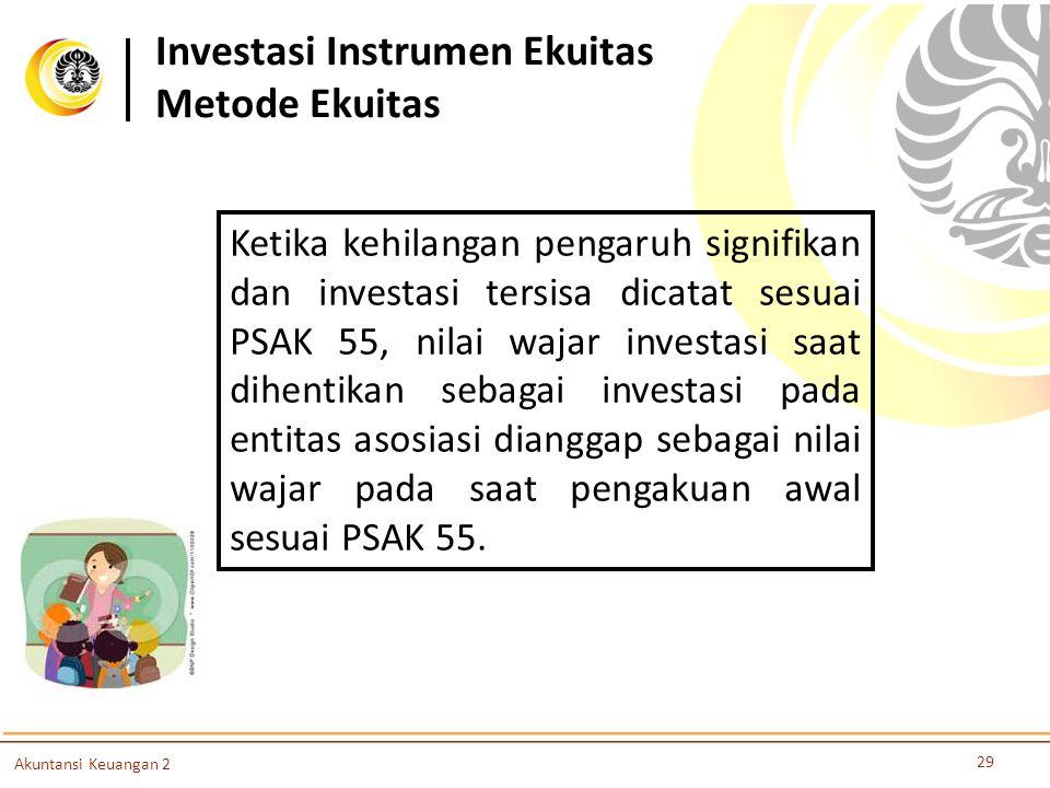Investasi Instrumen Ekuitas Metode Ekuitas 29 Akuntansi Keuangan 2 Ketika kehilangan pengaruh signifikan dan investasi tersisa dicatat sesuai PSAK 55,