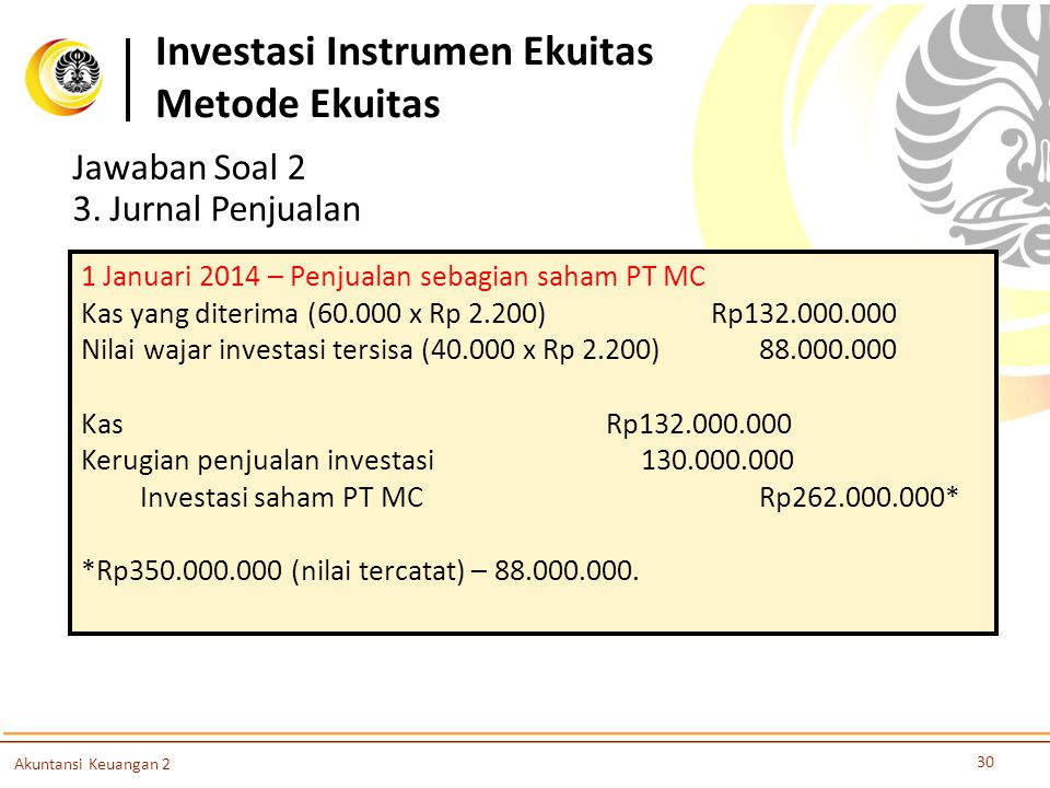 Investasi Instrumen Ekuitas Metode Ekuitas 30 Akuntansi Keuangan 2 Jawaban Soal 2 3. Jurnal Penjualan 1 Januari 2014 – Penjualan sebagian saham PT MC