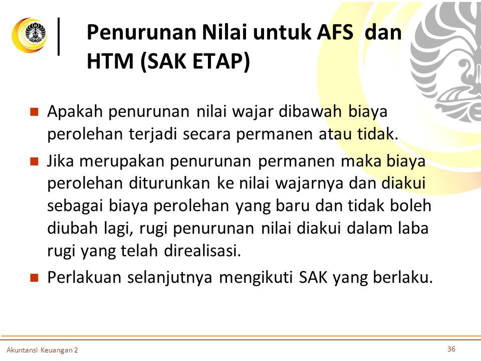 Penurunan Nilai untuk AFS dan HTM (SAK ETAP) Apakah penurunan nilai wajar dibawah biaya perolehan terjadi secara permanen atau tidak. Jika merupakan p