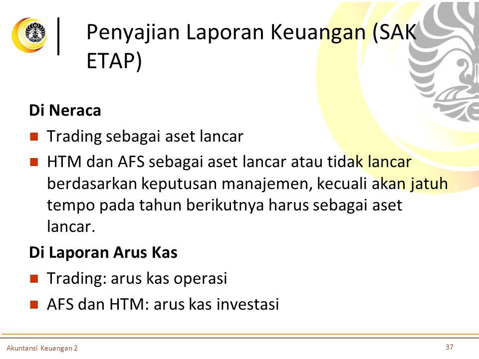 Penyajian Laporan Keuangan (SAK ETAP) Di Neraca Trading sebagai aset lancar HTM dan AFS sebagai aset lancar atau tidak lancar berdasarkan keputusan ma