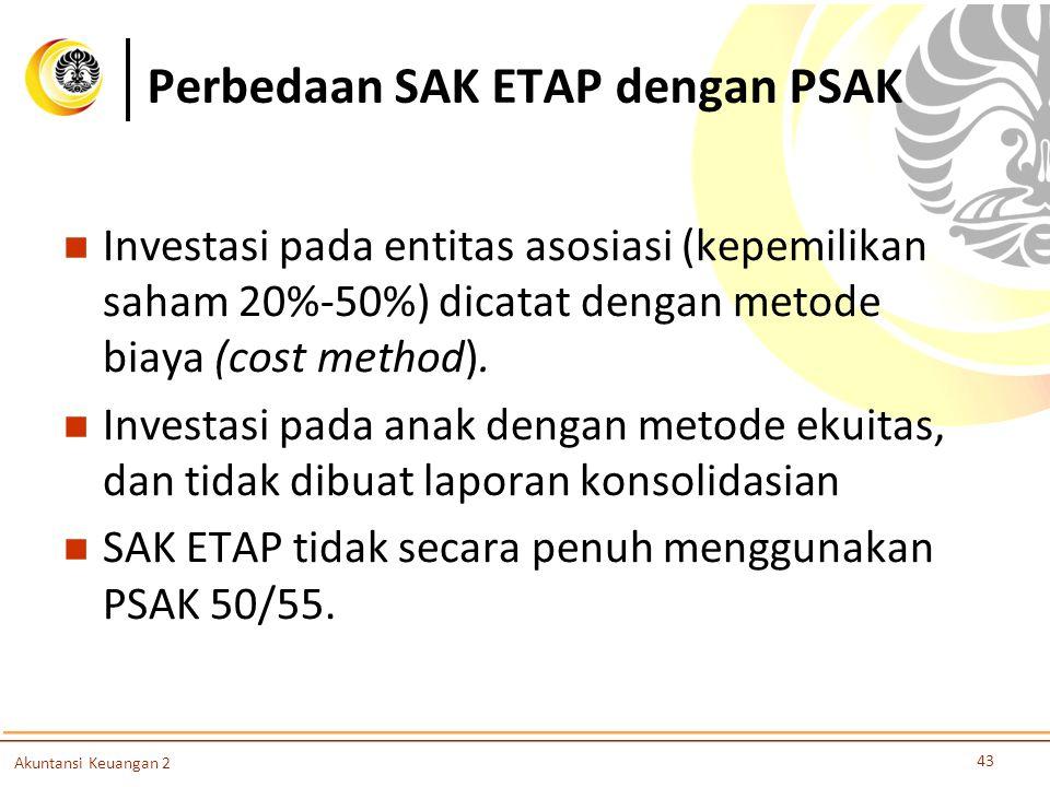 Perbedaan SAK ETAP dengan PSAK Investasi pada entitas asosiasi (kepemilikan saham 20%-50%) dicatat dengan metode biaya (cost method). Investasi pada a