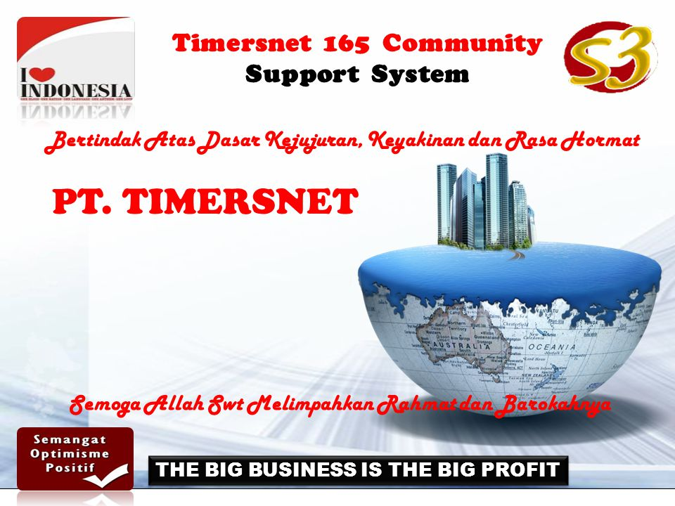 Timersnet 165 Community Support System THE BIG BUSINESS IS THE BIG PROFIT PT.